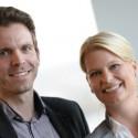 Die Doppelspitze der Neuen Liberalen im Wahlkampf: Isabel Wiest (Listenplatz 1) und Christian Schiller (Listenplatz 2)